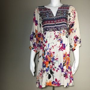 Umgee Small Peasant Dress Bohemian Floral Vneck